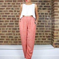 Vintage 80's Coral Polka Dot High waisted Tapered Pant from House of Jam
