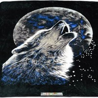 79x94 Queen Soft Faux Mink Howling Wolf Full Moon Black Gray Plush Throw Blanket