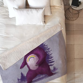 Terry Fan Scare Bear Fleece Throw Blanket