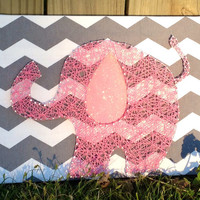Pink Elephant in String Art with Glitter Ear on Chevron