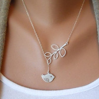 Fashion bird necklace chain necklace women necklace girls necklace made of silver bird and leaves chain necklace  XL-2388