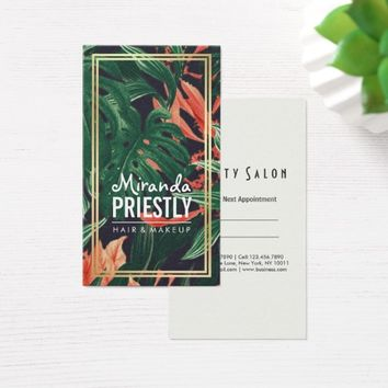 Tropical Floral Gold Frame Makeup Beauty Salon Business Card