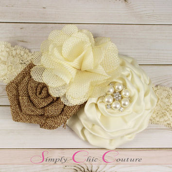 Brown & Ivory Rustic Burlap Headband, Burlap Lace Headband, Flower Girl Headpiece, Wedding Headdress, Country Headband, Burlap Headband
