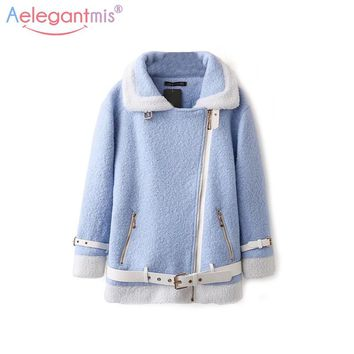 Aelegantmis Winter Casual Wool Blends Coat Women Fashion Belt Thicken Winter Jackets Coats Lady Warm Wool Outerwear Blue