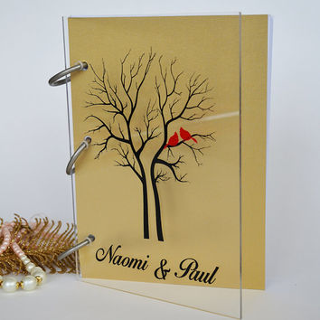 Wedding Guest Book Modern design Transparent organic glass, Personalized with names Red cardinals on tree