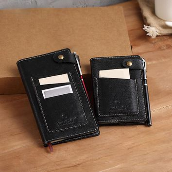 Genuine leather Logo Custom A5 Diary Notebook Travelers Writing Pads Mini A7 Notepad with Pocket Office Planner School Office