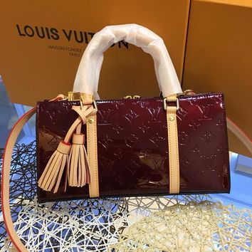 AUGUAU L050 Louis Vutton LV Millefeuille Classic Small Handbag 30-15.5-10.5cm Wine Red