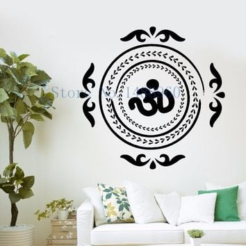 Yoga Mandala Indian Mehndi Buddha oum OM Symbol ~ Wall Sticker