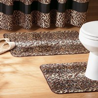 Collections Etc - Leopard Print 2-Pc. Bathroom Rug Set