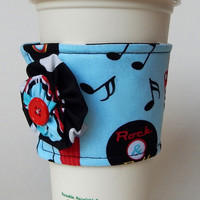 Retro Coffee Cup Cozy , 50s Diner Drink Sleeve , Jukebox , Vinyl Records , Classic Cars , Fabric Cup Cozy , Yoyos