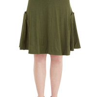 ModCloth Military Mid-length A-line At the Racquet of Dawn Skirt in Grass
