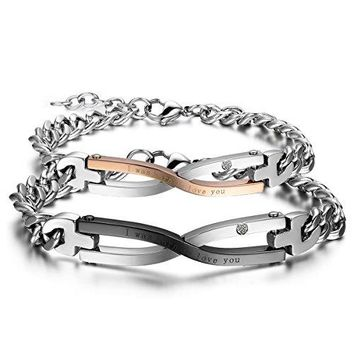 Stainless Steel Couples Infinity Love Matching Bracelet AnkletCZ Charming Infinity Bangle for Valentines Day Wedding Anniversarywith Gift Bag