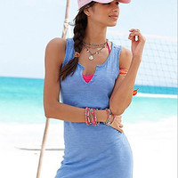 Sky Blue U Neck Slim Dress 10342