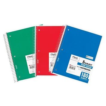 NOTEBOOK SPIRAL 5 SUBJECT 180 CT