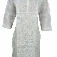 Mogul Interior Womans White Tunic Cotton Embroidered Elegant Indian Caftan Dress M: Amazon.ca: Clothing & Accessories
