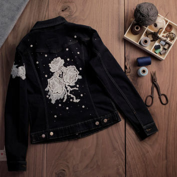 Constellation Rose Decorated Denim Jacket