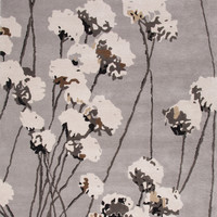 Jaipur Rugs Modern Floral Pattern Gray/Ivory Wool Area Rug LST30 (Rectangle)
