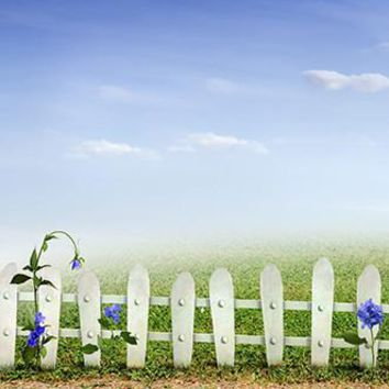 WHITE WOODEN GATE BACKDROP 5x6 - LCPC9357 - LAST CALL