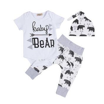 3PCS Set Newborn Infant Baby Clothes Short Sleeve Baby Bear Boys Girls Romper Pant Hat Outfit Bebek Giyim Clothing Costume