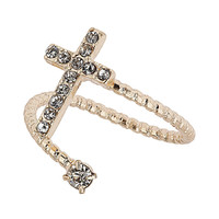 Swirl Rhinestone Cross Ring - Rings - Jewellery - Bags & Accessories - Topshop