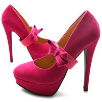 ollio Womens Faux Suede Pumps Ribbon Band Platform High Heels PINK US 7 Shoes
