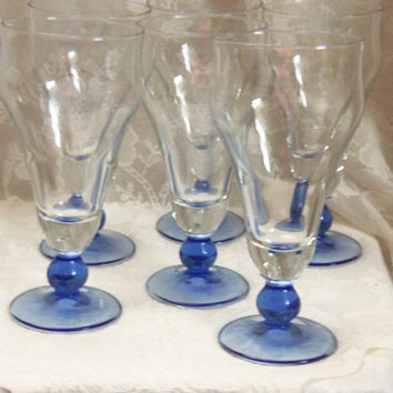 Six Parfait Glasses, Clear with Sapphire Blue Knobbed Stem and Foot, Italy, Soda, Beer, Tall Drink, Cocktail, Special Occasion Serving