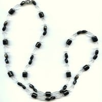 "Vintage Frosted Glass Bead black Clear Necklace Single Strand 30.5"" Around"