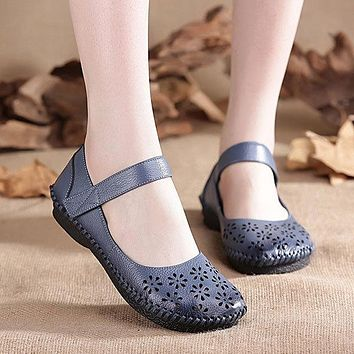 Mary Jane Original Hollow Out Hook Loop Soft Flat Vintage Shoes