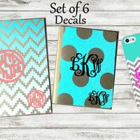 Set of 6 Decals, Back to School, Notebook Stickers, Monogram Decal, Phone Decal, Preppy