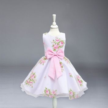 Retail print flower dress floral dress with big bow Kid girl party dress LM008