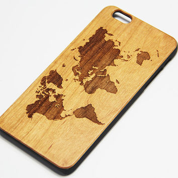 World Map Real Wood Engraved iPhone 6s/6 Case,iPhone 6s/6 plus case,iPhone 5/5s Case,Natural Wooden Samsung Galaxy S6/S6 Edge Case,Galaxy S5