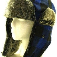 Blue Buffalo Plaid Wool Faux Fur Trooper Trapper Pilot Aviator Hat for Men and Women One Size Hat up...