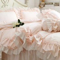 New Embroidery luxury layers bedding set sweet princess big ruffle duvet cover wedding decorative bedding bed sheet cover set