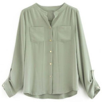ROMWE | Buttoned V-neck Green Blouse, The Latest Street Fashion