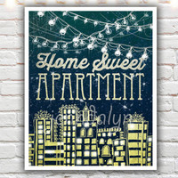 Home Sweet Apartment - fine art print, home sweet apartment sign, apartment therapy, typographic print, apartment decor, giclee print