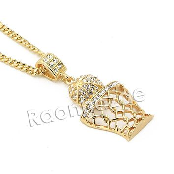 "Mens Iced Out Gold Bling Basketball Pendant w/ 5mm 24"" 30"" Brass Cuban Chain A10"