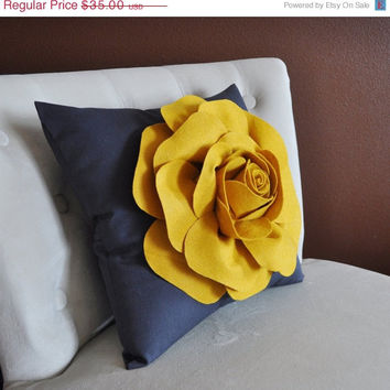 MOTHERS DAY SALE Rose Pillow Mustard Yellow on Grey 14 X 14