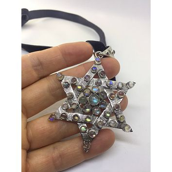 Nemesis Vintage Handmade Sterling Silver Rainbow Labradorite Star of David Pendant necklace