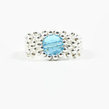 Aquamarine Sterling Silver Ring Band Ring Bead Ring Beadwork Jewelry