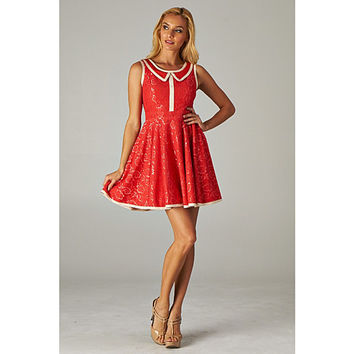 Minuet Red Collar Lace Dress