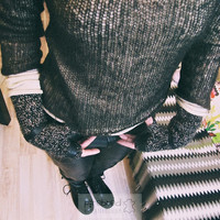 Wool and Leather Fingerless Gloves - Organic Wool and Real Leather Mittens - Hipster Grunge Driver Gloves - High Gloves