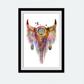 Native american watercolor art print Native american decor Home decoration Wall hanging art Living room art poster American Indians art W503
