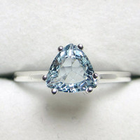 Aquamarine Trillion Ring - Sterling Silver