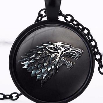 Necklace Pendant House of Stark Black Wolf Jewelry