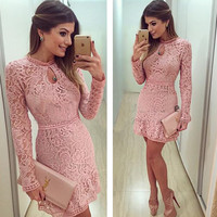 Long Sleeve Embroidery Lace Dress
