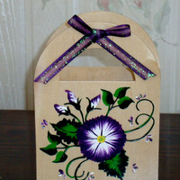 Hand Painted Gift Bag Gift Card Holder With Flowers