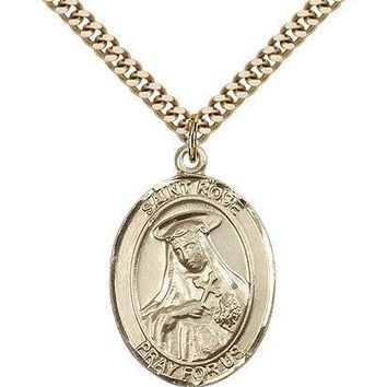 "Saint Rose Of Lima Medal For Men - Gold Filled Necklace On 24"" Chain - 30 Day... 617759447903"