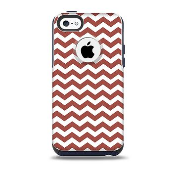 The Maroon & White Chevron Pattern Skin for the iPhone 5c OtterBox Commuter Case