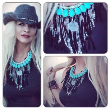 Turquoise fringe necklace, gypsy junk rock n roll choker necklace, True Rebel clothing