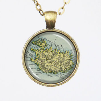Iceland Map Necklace - Iceland, Customizable Map Necklace -Vintage Map Series